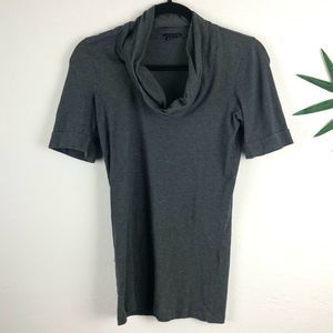Theory  Cowl Neck Short Sleeve Top Gray Size S